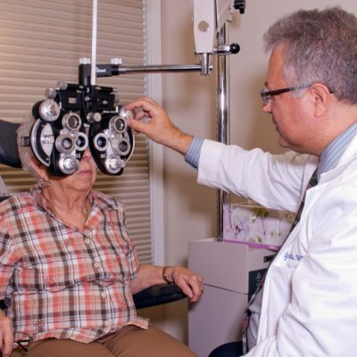 patient during eye exam